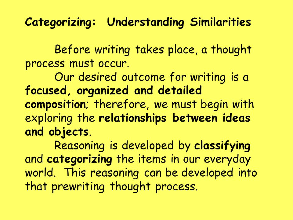 Categorizing: Understanding Similarities