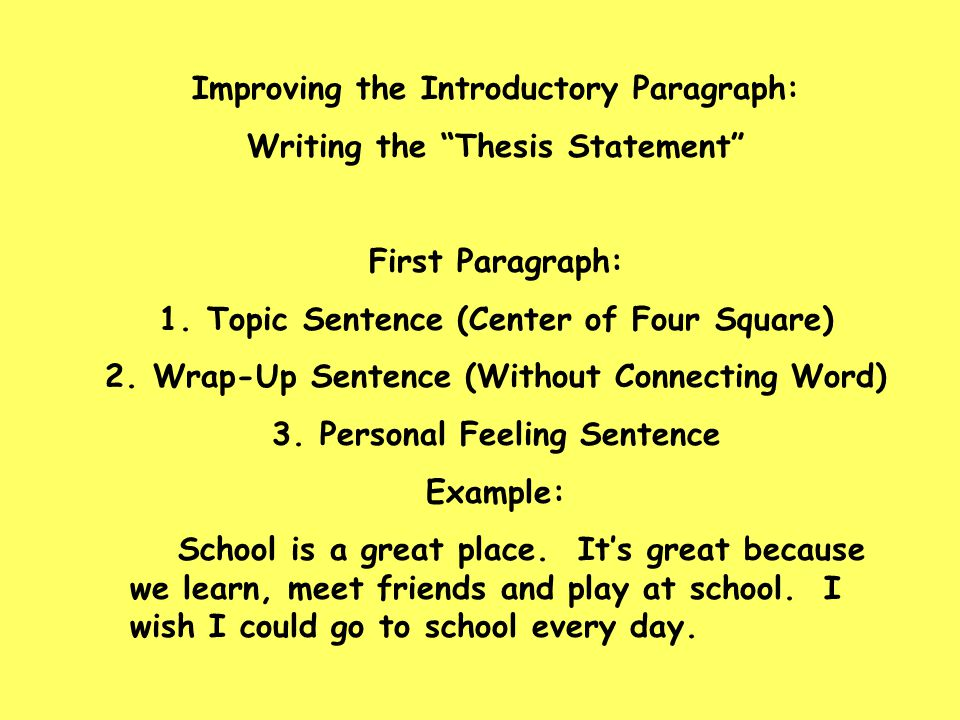 Improving the Introductory Paragraph: Writing the Thesis Statement