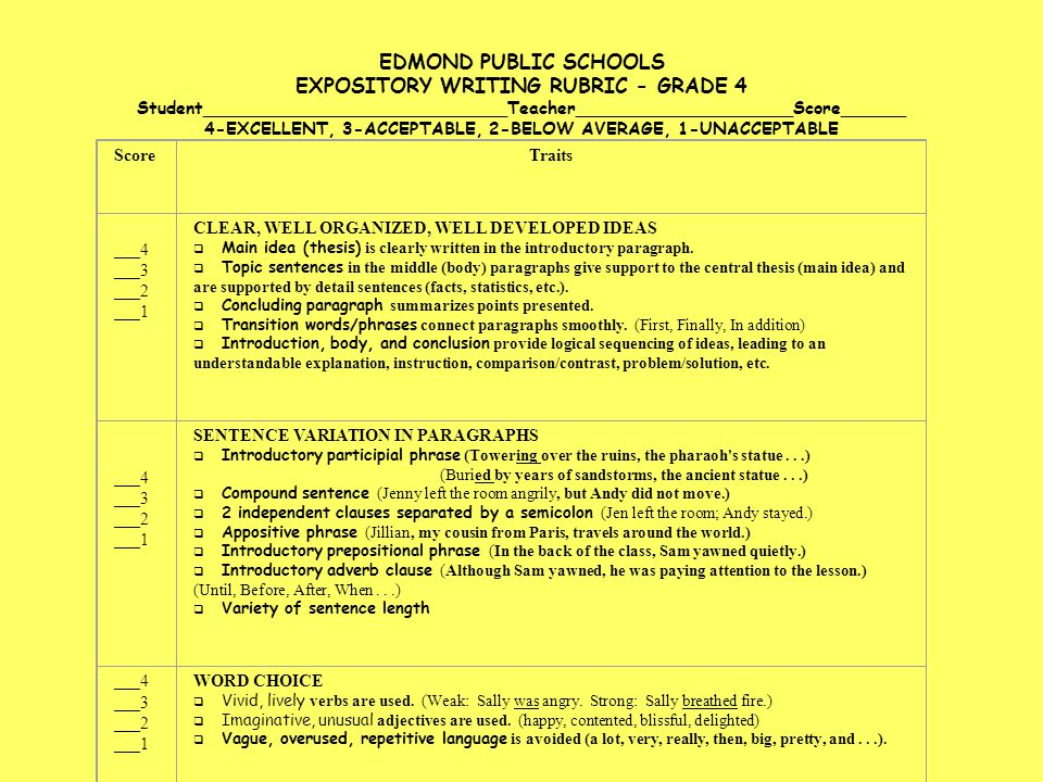 EDMOND PUBLIC SCHOOLS EXPOSITORY WRITING RUBRIC - GRADE 4