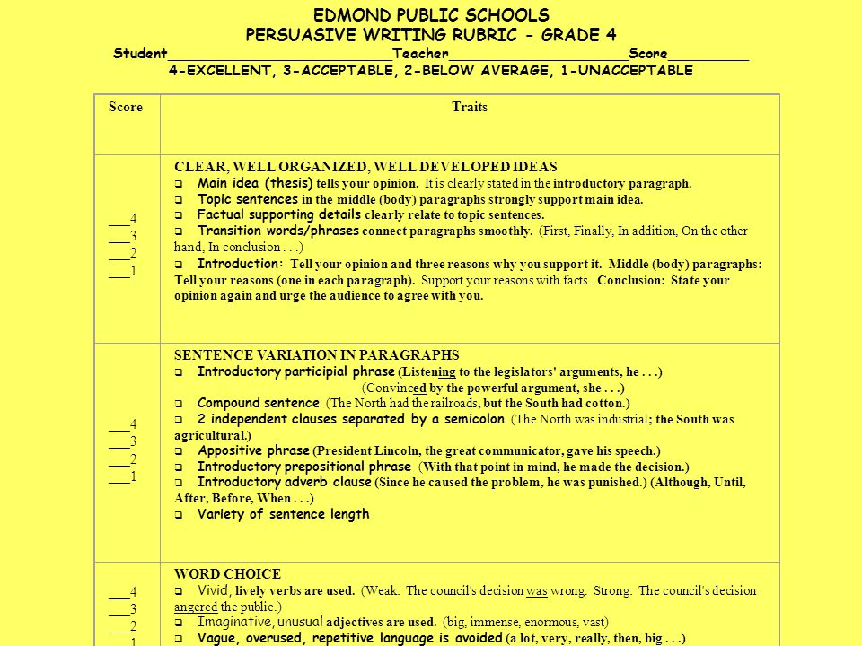 persuasive writing rubric grade 2 The 2-point constructed-response rubric was designed with the help of indiana teachers to score student responses to open-ended reading comprehension questions guidelines to applying the rubrics for clarification regarding the application of the ela rubrics for scoring, please read guidelines to applying the rubrics.