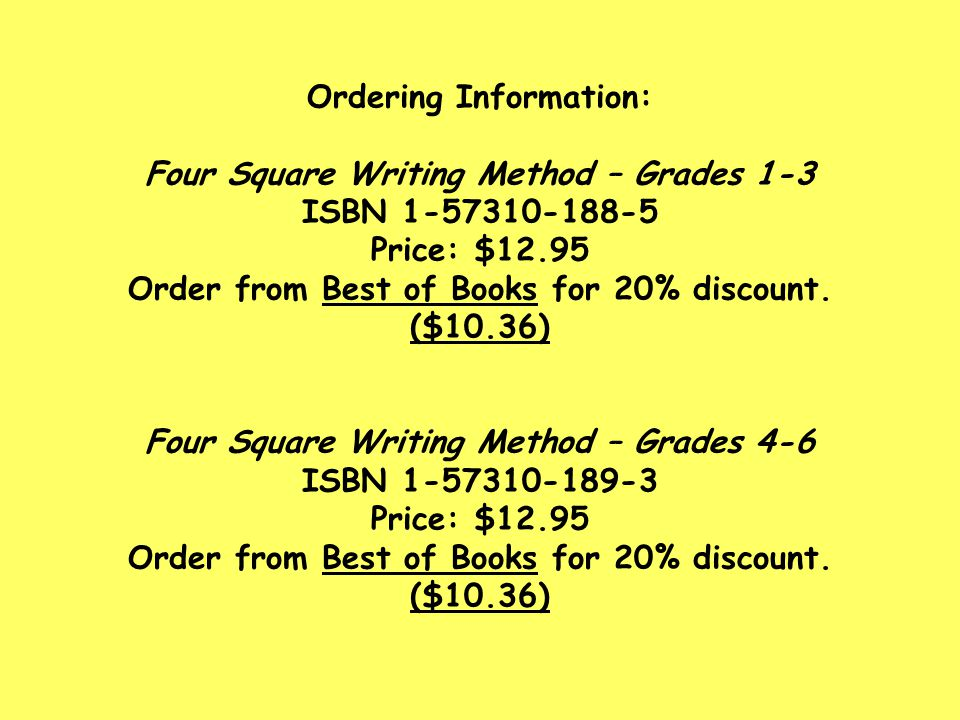 Ordering Information: Four Square Writing Method – Grades 1-3 ISBN 1-57310-188-5 Price: $12.95 Order from Best of Books for 20% discount.