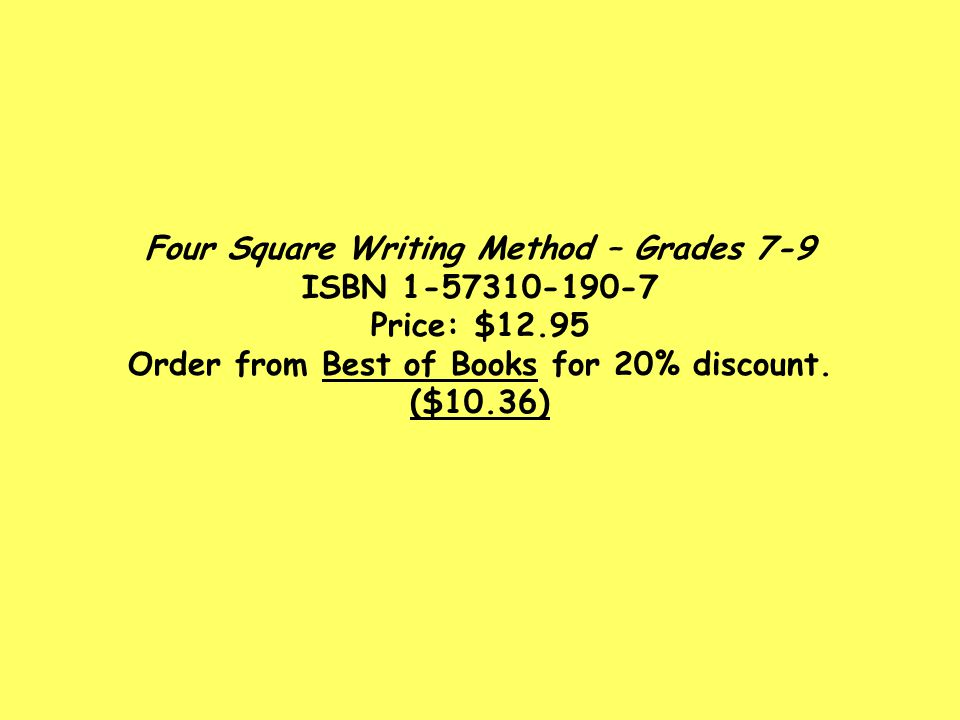 Four Square Writing Method – Grades 7-9 ISBN 1-57310-190-7 Price: $12