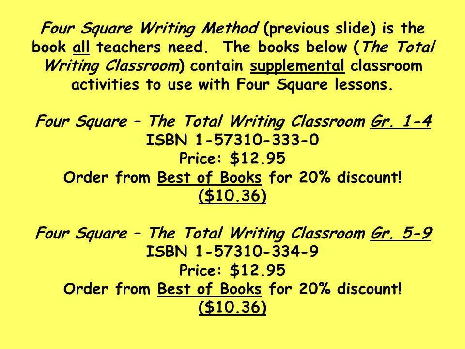 Four Square Writing Method (previous slide) is the book all teachers need.