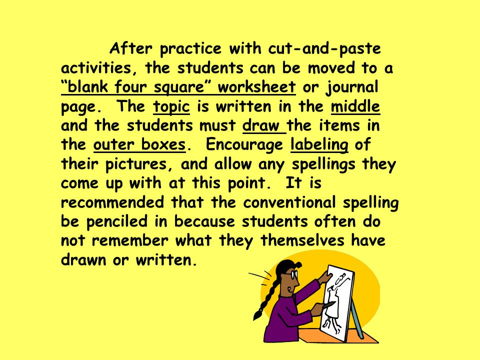 After practice with cut-and-paste activities, the students can be moved to a blank four square worksheet or journal page.