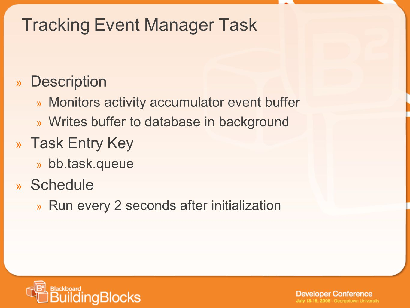 Tracking Event Manager Task