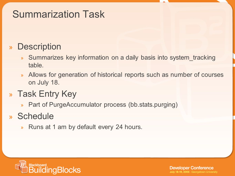 Summarization Task Description Task Entry Key Schedule