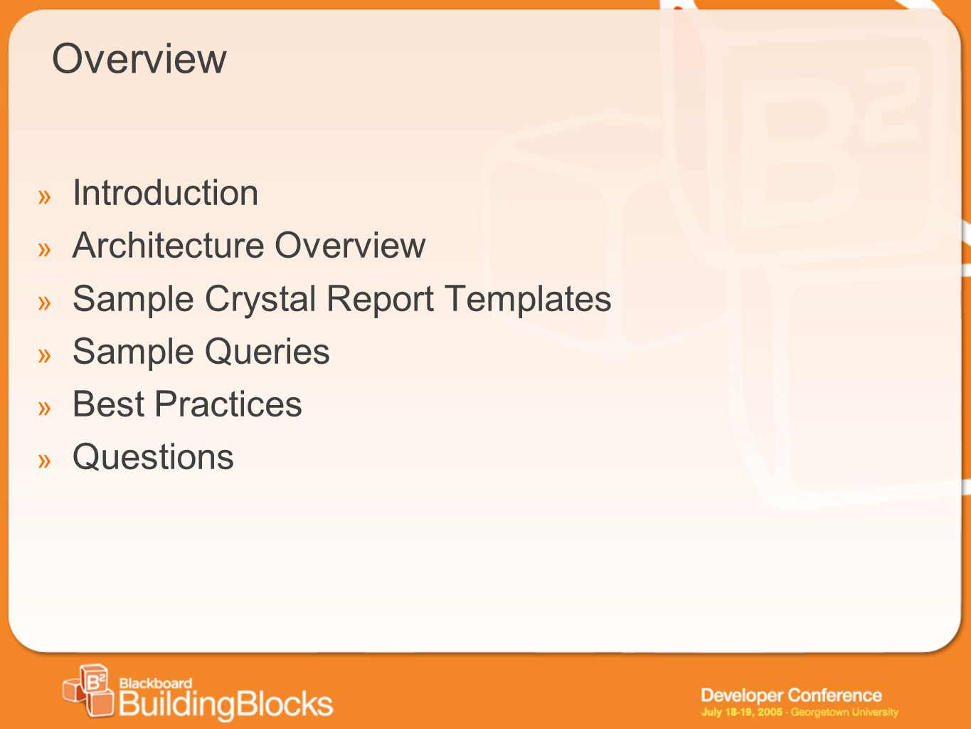 Overview Introduction Architecture Overview