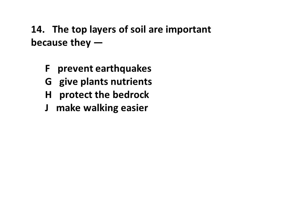 14. The top layers of soil are important because they —