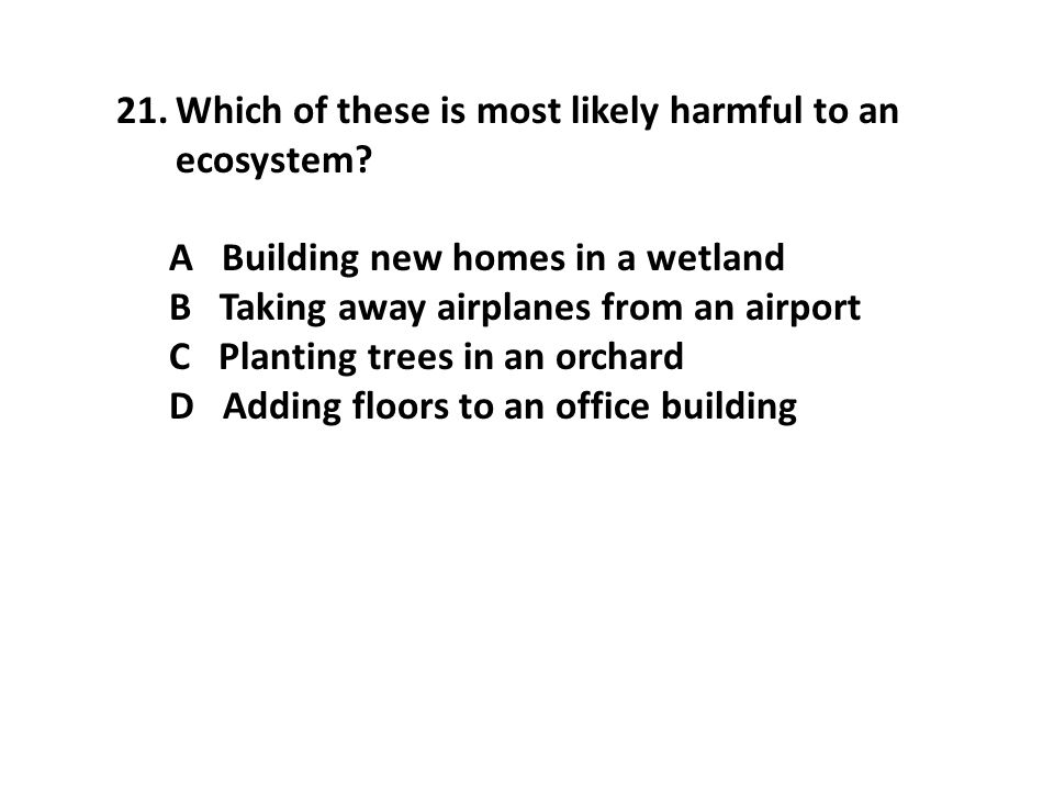 Which of these is most likely harmful to an ecosystem
