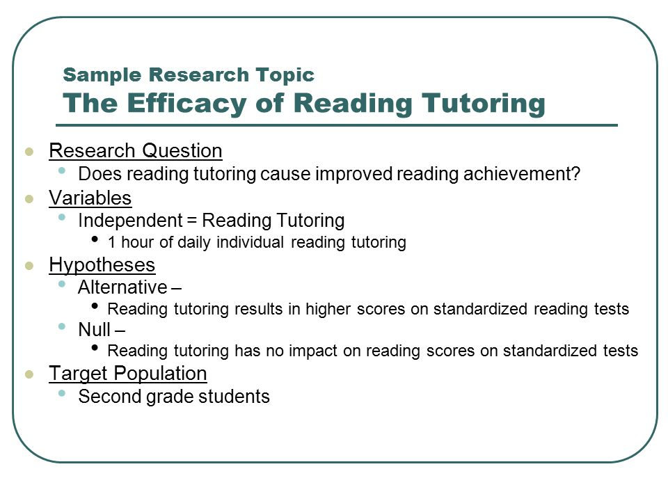 Sample Research Topic The Efficacy of Reading Tutoring