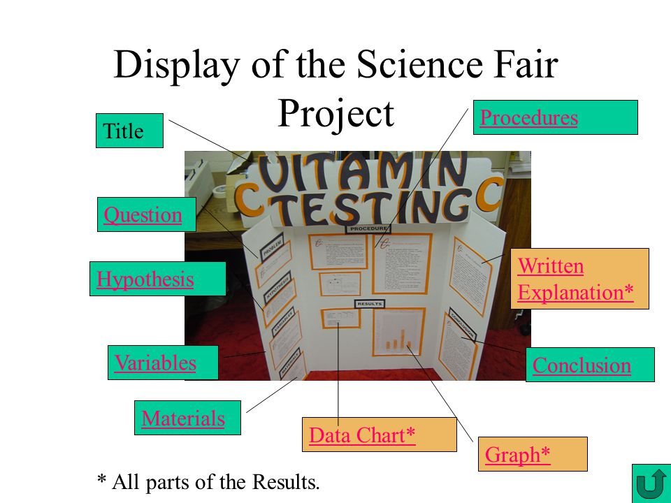 Display of the Science Fair Project