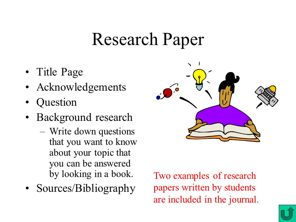 Research Paper Title Page Acknowledgements Question