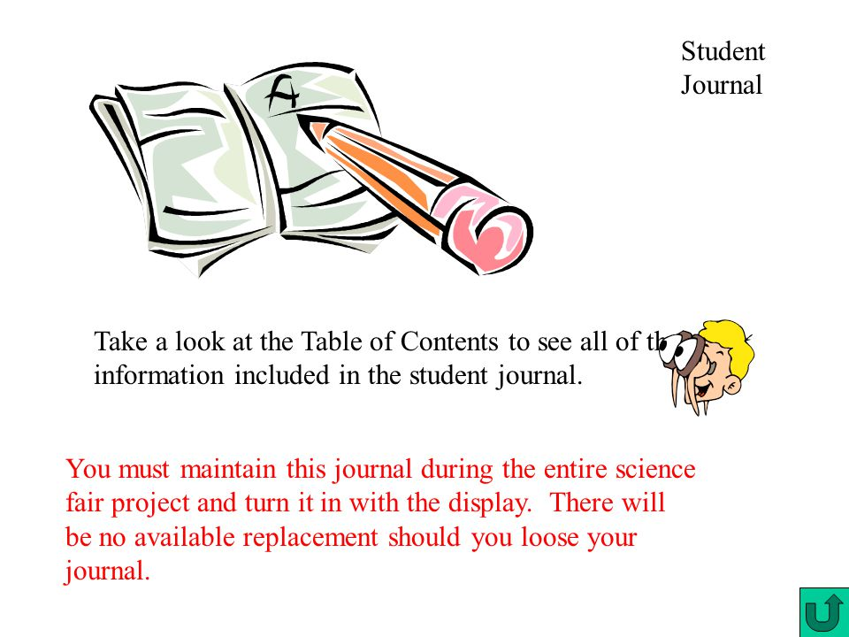 Student Journal Take a look at the Table of Contents to see all of the information included in the student journal.