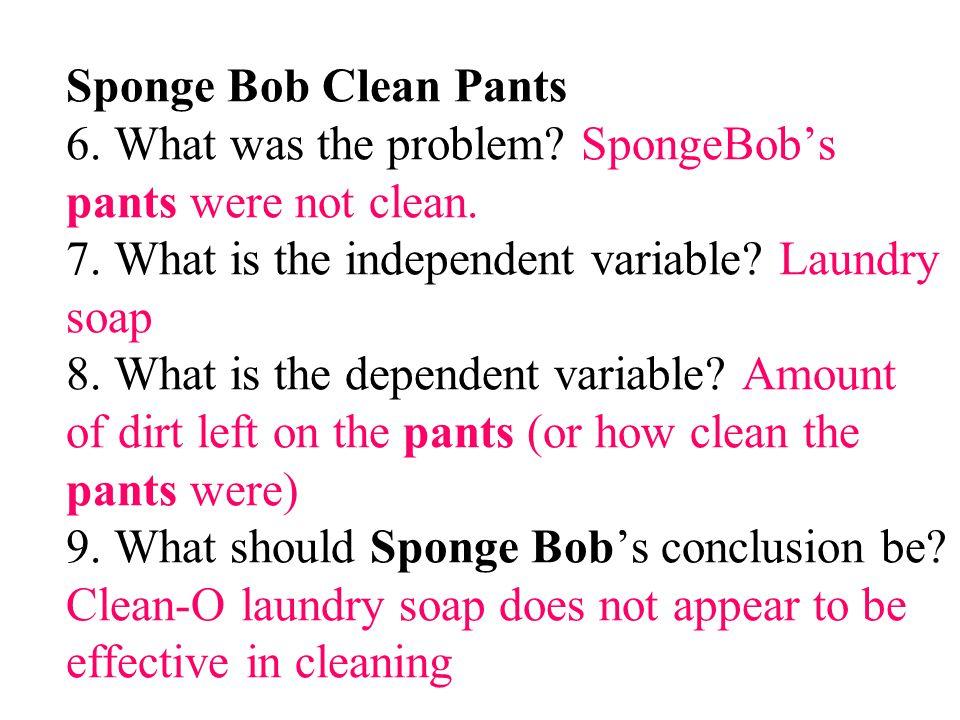 Sponge Bob Clean Pants 6. What was the problem
