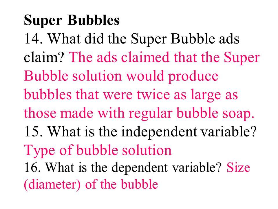 Super Bubbles 14. What did the Super Bubble ads claim