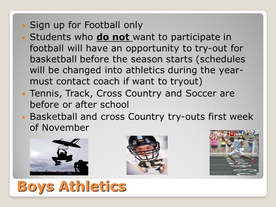Boys Athletics Sign up for Football only