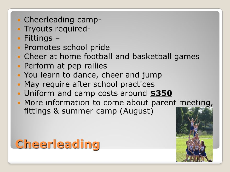 Cheerleading Cheerleading camp- Tryouts required- Fittings –