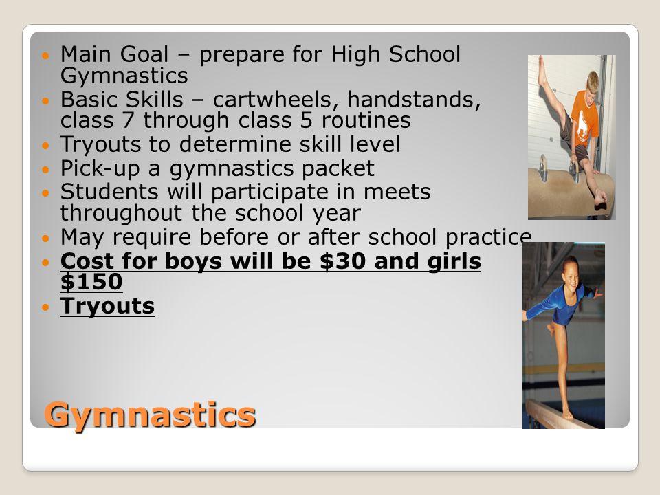 Gymnastics Main Goal – prepare for High School Gymnastics