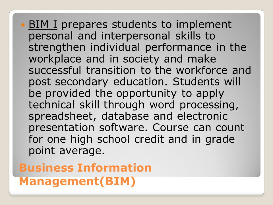Business Information Management(BIM)