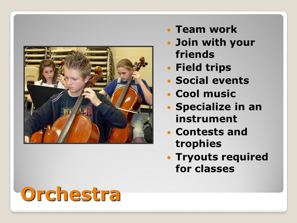Orchestra Team work Join with your friends Field trips Social events