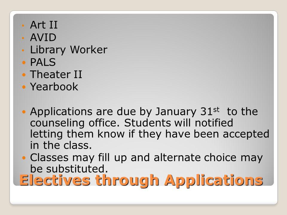 Electives through Applications