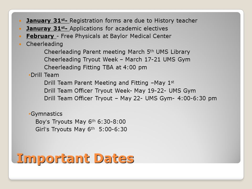 January 31st- Registration forms are due to History teacher
