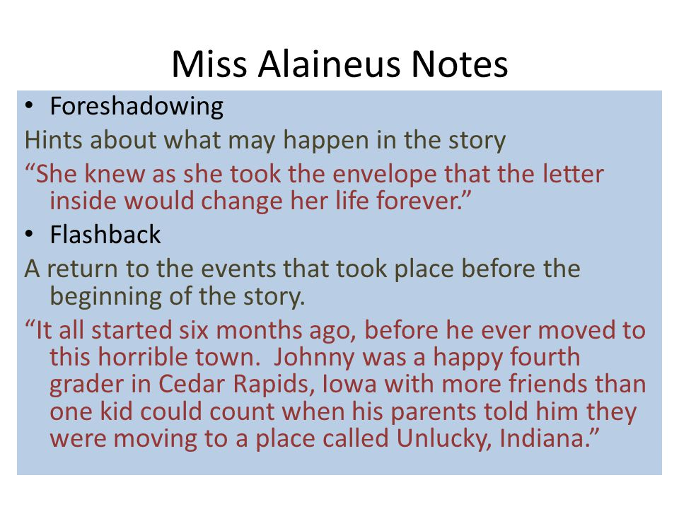 Miss Alaineus Notes Foreshadowing