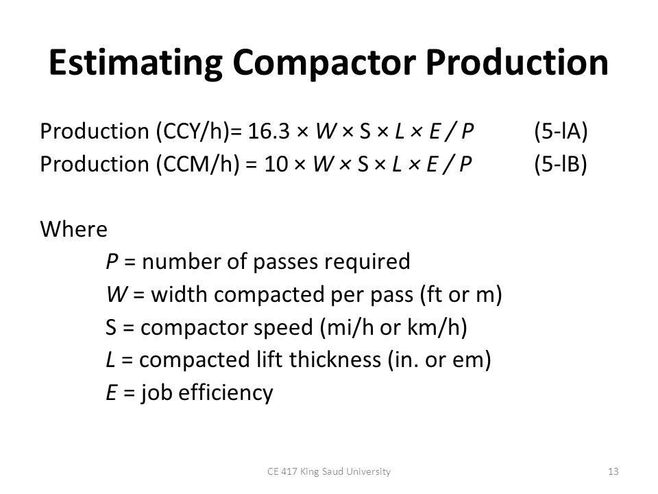 Estimating Compactor Production