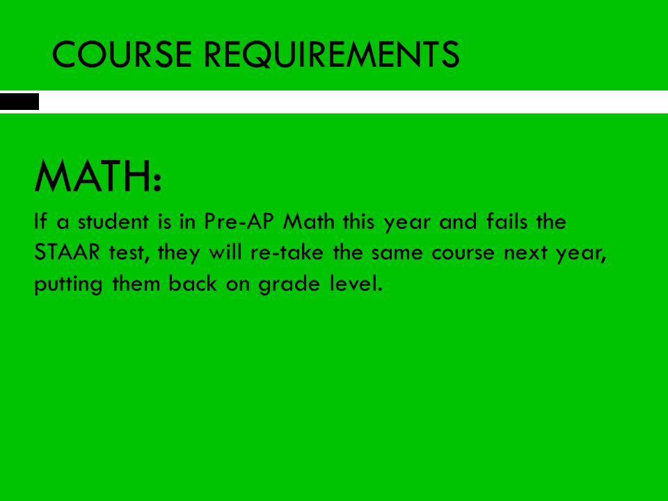 MATH: COURSE REQUIREMENTS