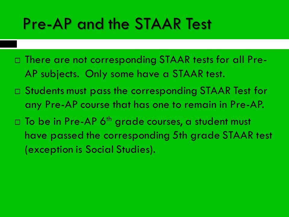 Pre-AP and the STAAR Test