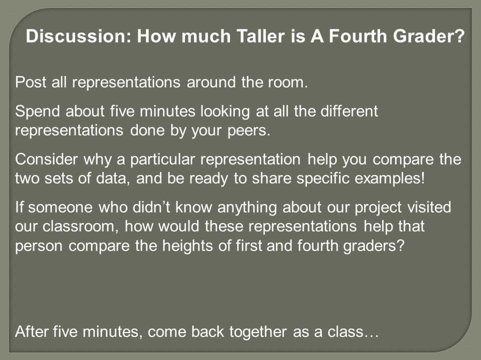 Discussion: How much Taller is A Fourth Grader