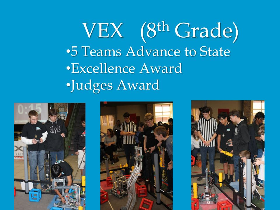VEX (8th Grade) 5 Teams Advance to State Excellence Award Judges Award