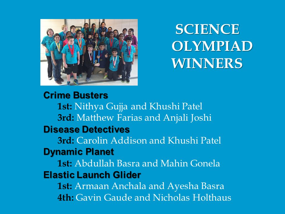SCIENCE OLYMPIAD WINNERS Crime Busters