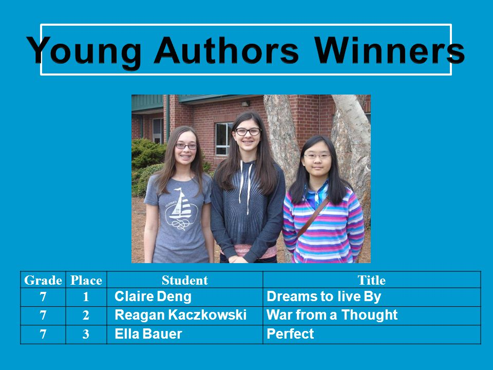 Young Authors Winners Grade Place Student Title 7 1 Claire Deng