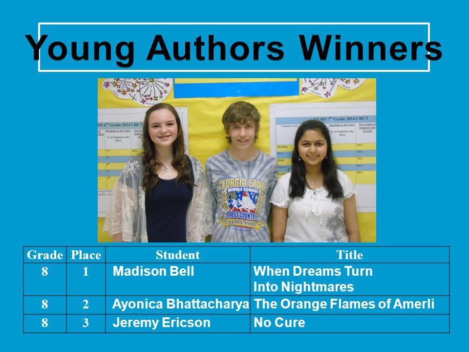 Young Authors Winners Grade Place Student Title 8 1 Madison Bell