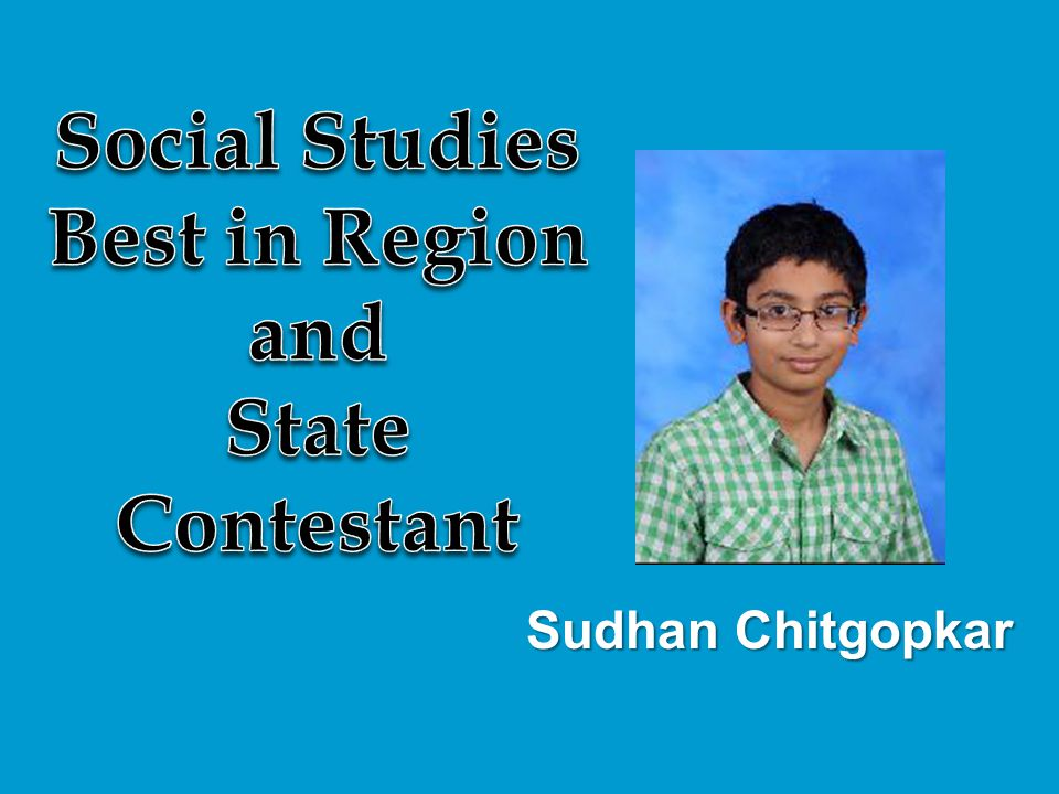Social Studies Best in Region and State Contestant