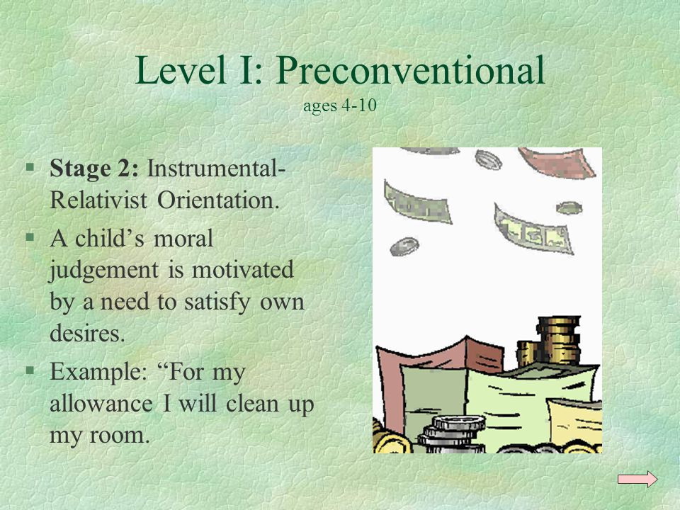 Level I: Preconventional ages 4-10