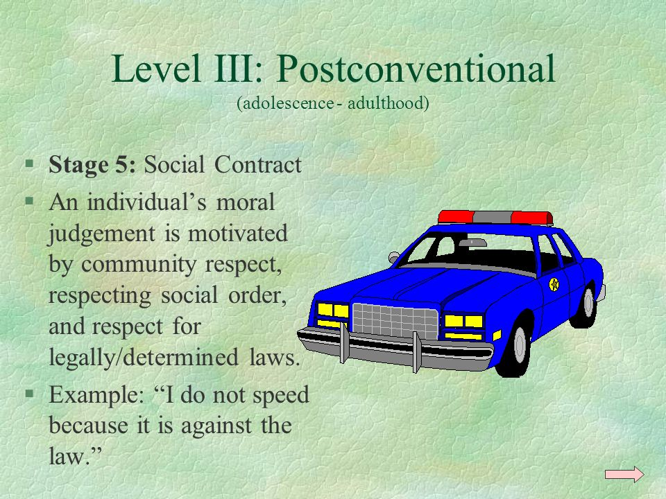 Level III: Postconventional (adolescence - adulthood)