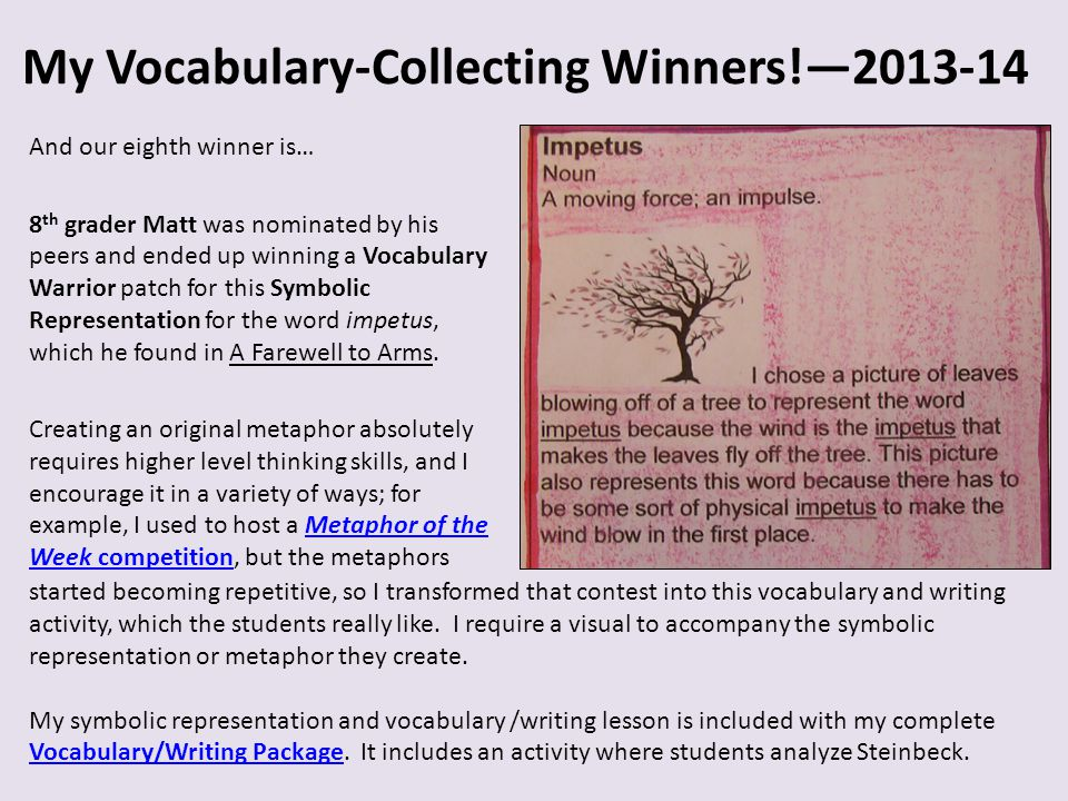 My Vocabulary-Collecting Winners!—2013-14