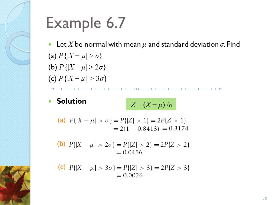 Example 6.7 Let X be normal with mean μ and standard deviation σ. Find
