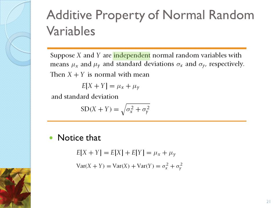 Additive Property of Normal Random Variables