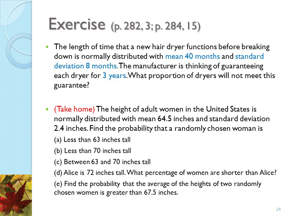 Exercise (p. 282, 3; p. 284, 15)