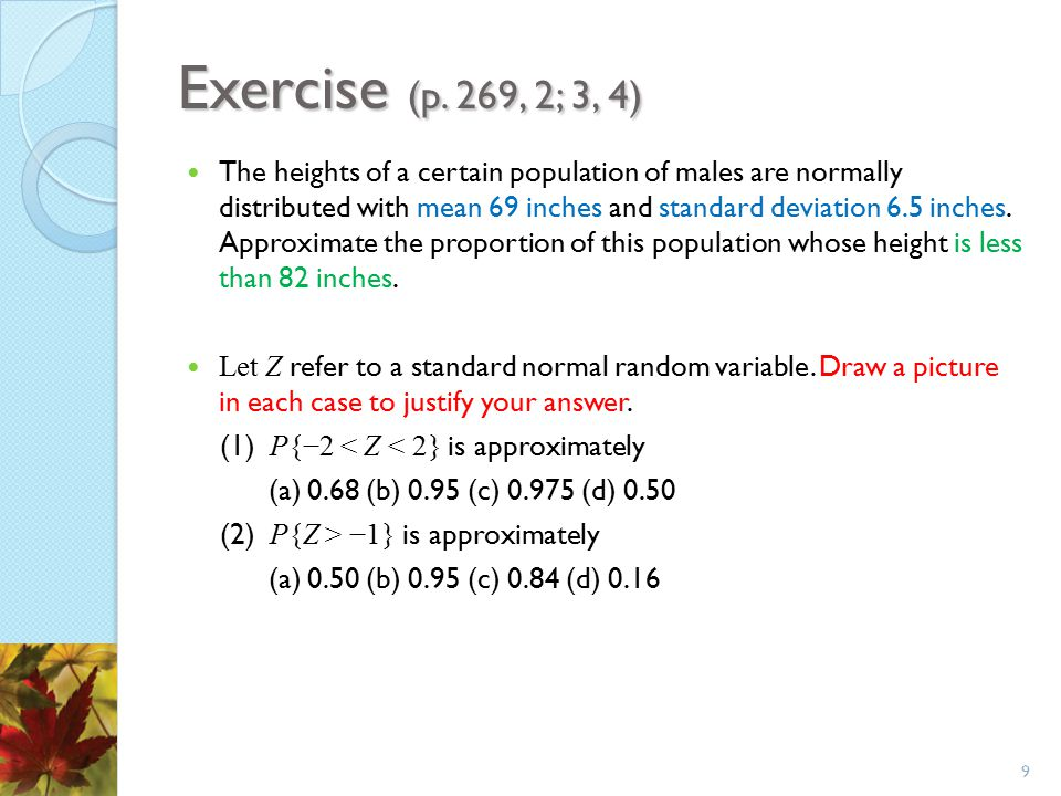 Exercise (p. 269, 2; 3, 4)