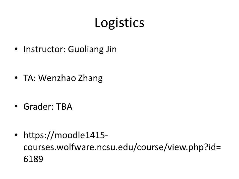 Logistics Instructor: Guoliang Jin TA: Wenzhao Zhang Grader: TBA