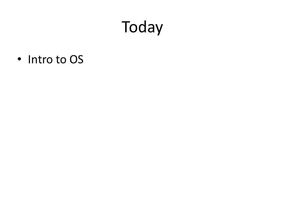 Today Intro to OS