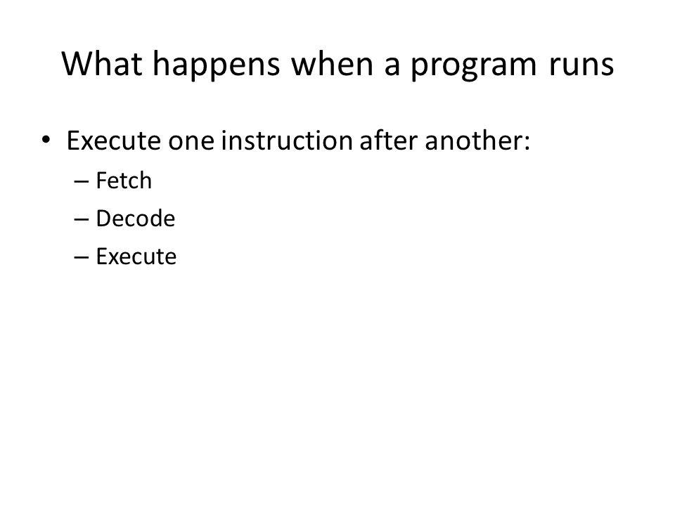 What happens when a program runs