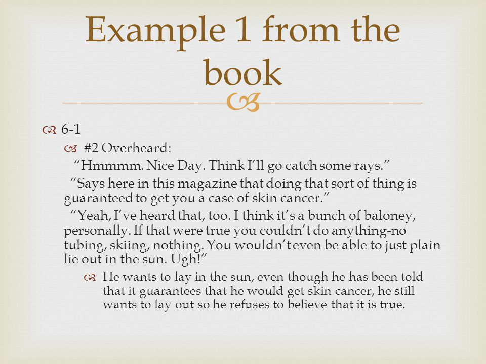 Example 1 from the book 6-1 #2 Overheard:
