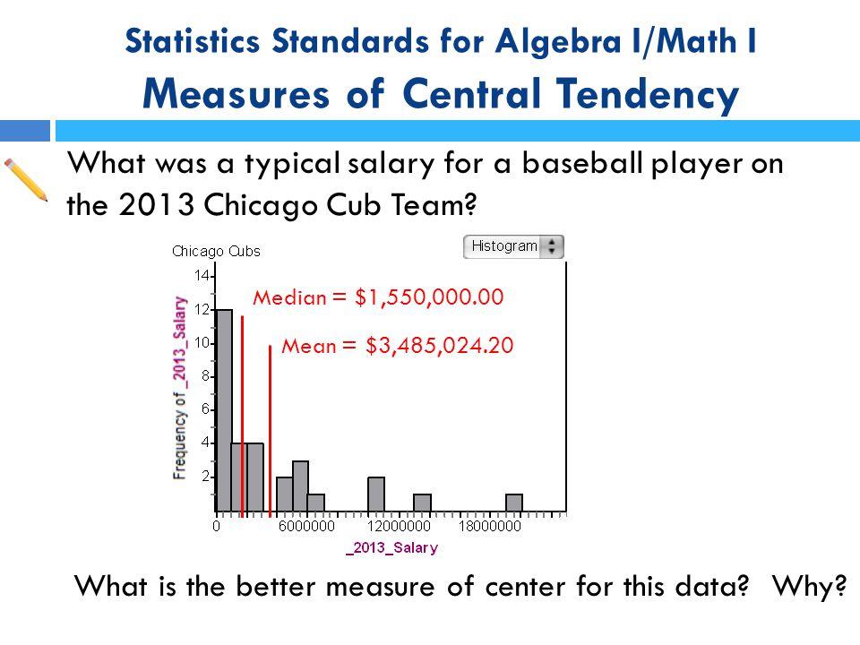 Statistics Standards for Algebra I/Math I Measures of Central Tendency