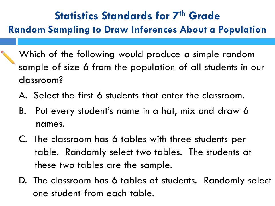 Statistics Standards for 7th Grade Random Sampling to Draw Inferences About a Population