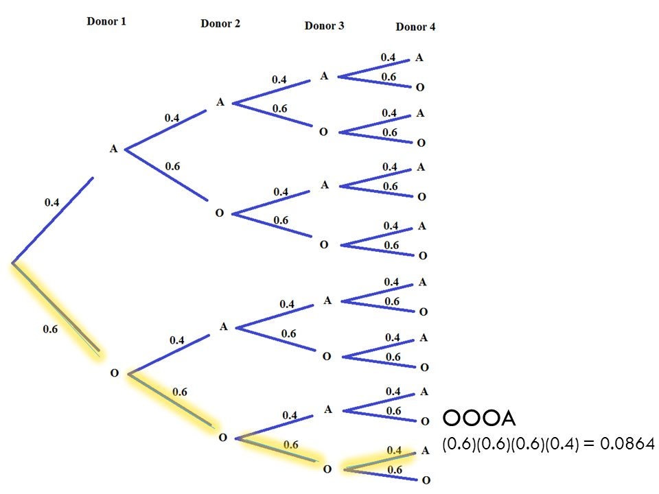 Standard 7.SP.8c covers using simulation only to estimate probabilities such as the probability that it will take at least 4 donors to find a donor with blood type A. This standard does not require that students use a tree to determine this probability. Creating trees with 4 sets of branches (4 stages) to answer the question about blood types as a guided activity allows students to see what the actual, long-run (theoretical) probability is and to make the connection between simulation and their work with probability trees in standard 7.SP.8b. When students work independently, it is better to keep to examples requiring only two or three stages (two or three sets of branches).